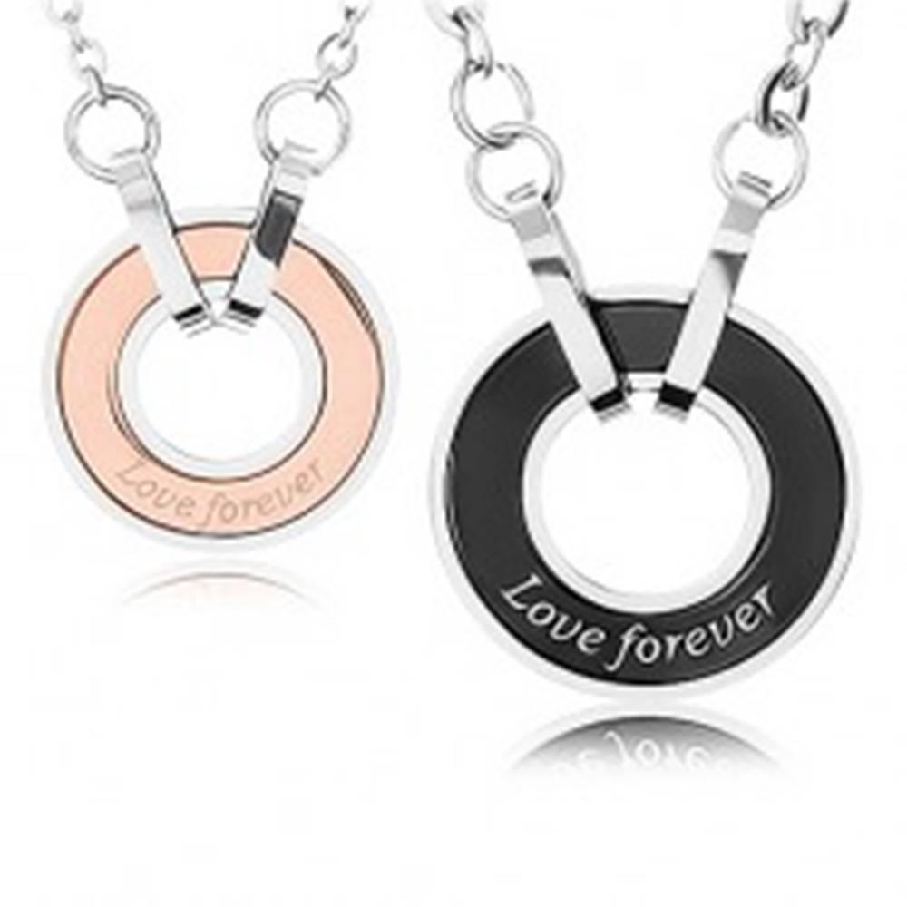 """Šperky eshop Dva náhrdelníky z ocele 316L, obrys kruhu, nápis """"Love forever"""""""