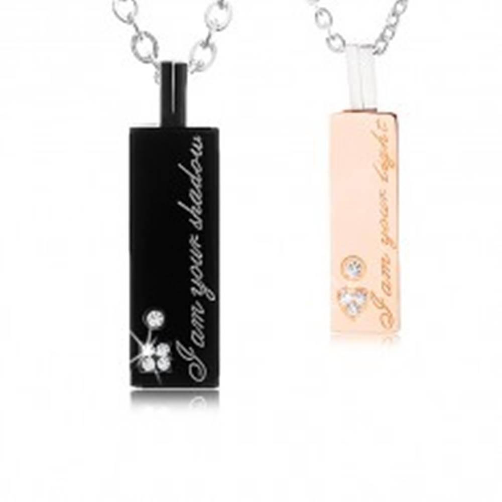 Šperky eshop Dva oceľové náhrdelníky pre zamilovaných, známka so zirkónmi, nápis