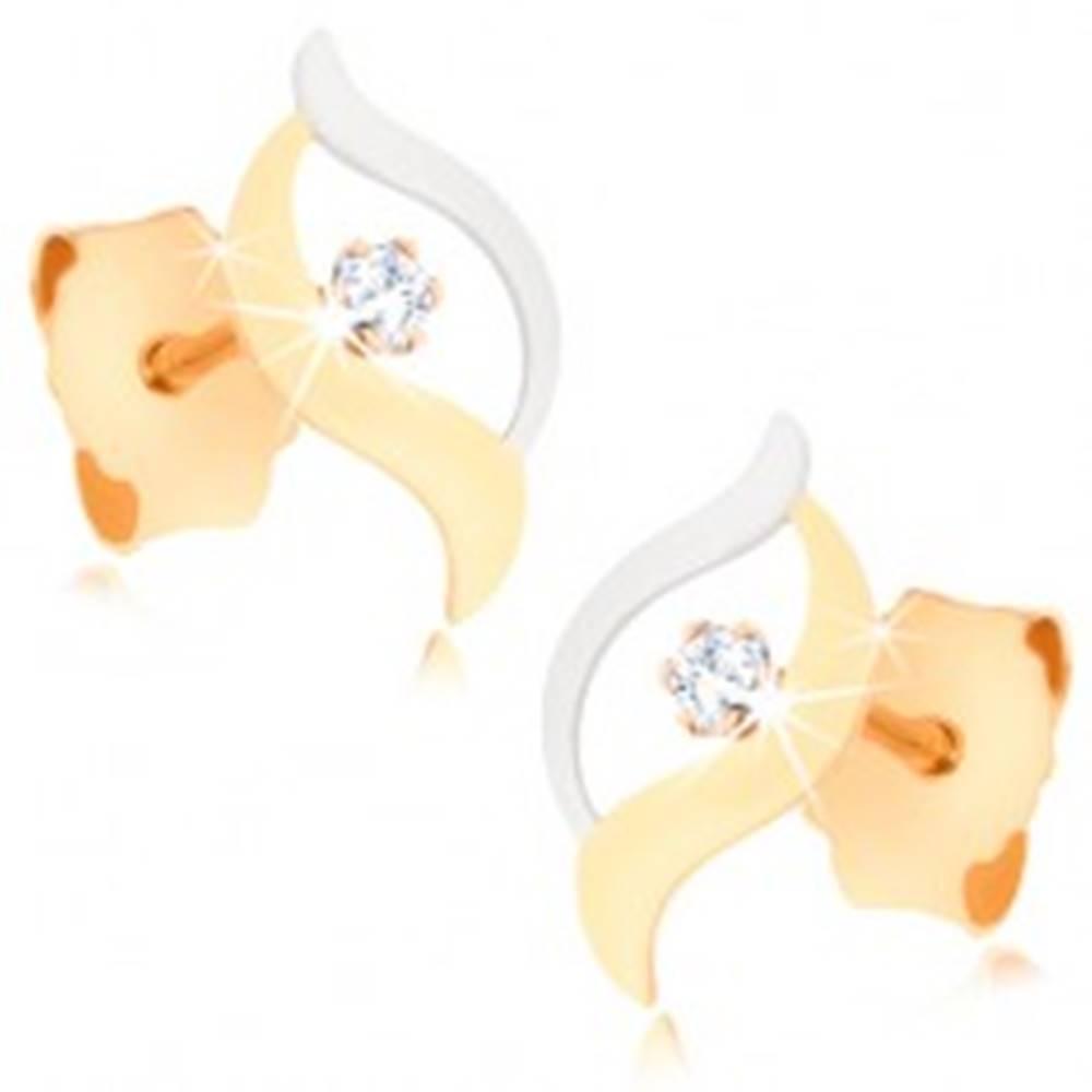 Šperky eshop Dvojfarebné zlaté náušnice 375 - spojené zvlnené línie, okrúhly číry zirkónik