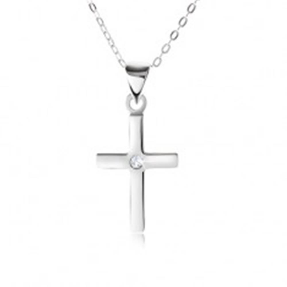 Šperky eshop Náhrdelník zo striebra 925, retiazka a lesklý hladký krížik, číry zirkón