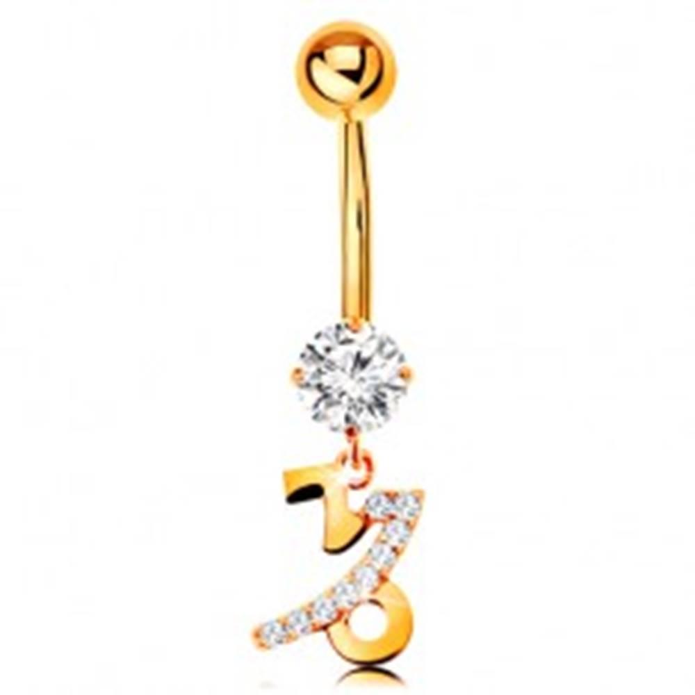 Šperky eshop Piercing do brucha zo žltého 9K zlata - zirkón, znamenie zverokruhu - KOZOROŽEC