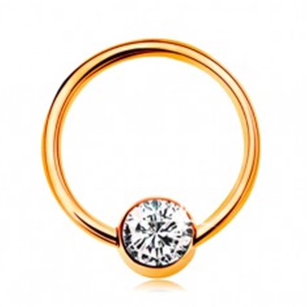 Šperky eshop Piercing v žltom 9K zlate - lesklý krúžok s guličkou a čírym zirkónom, 10 mm