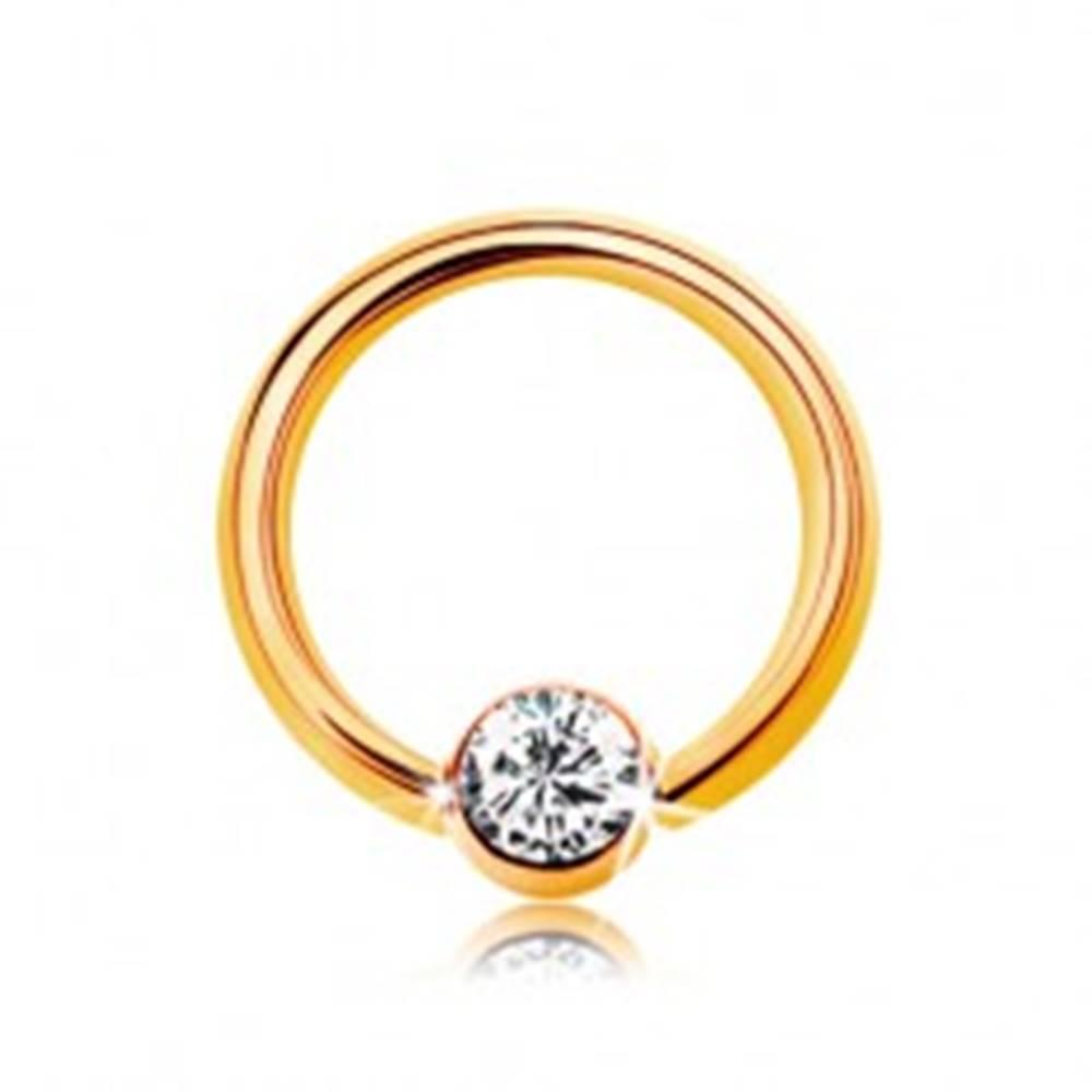 Šperky eshop Piercing v žltom 9K zlate - malý krúžok s guličkou a čírym zirkónom, 6 mm