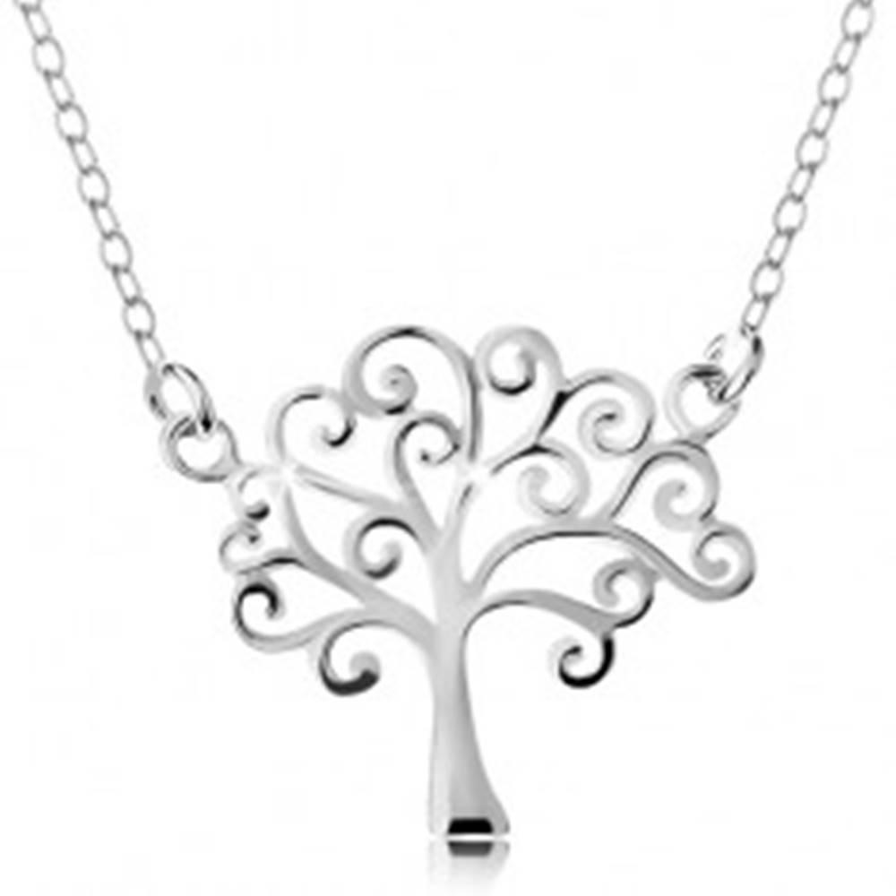 Šperky eshop Strieborný náhrdelník 925, tenká retiazka a prívesok - lesklý strom života