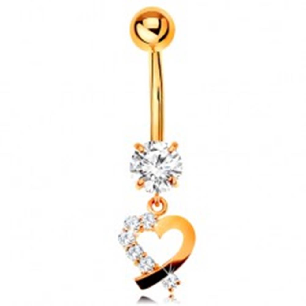 Šperky eshop Zlatý 9K piercing do pupka - kontúra srdiečka s čírou zirkónovou polovicou