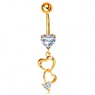 Zlatý 375 piercing do bruška - kontúry sŕdc a číre zirkónové srdiečka