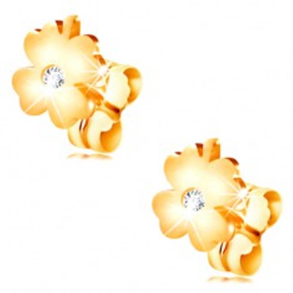 Šperky eshop Diamantové náušnice zo žltého 14K zlata - lesklý štvorlístok s čírym briliantom