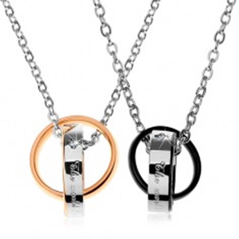 Šperky eshop Dva oceľové náhrdelníky, dvojfarebné prepojené obrúčky, nápisy, zirkóny