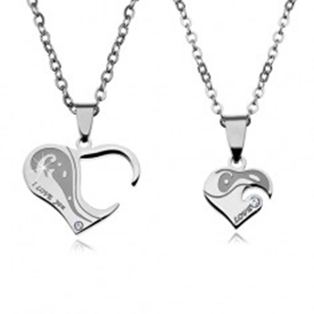 Šperky eshop Dva oceľové náhrdelníky pre zaľúbených, srdiečkové prívesky s nápismi a zirkónmi