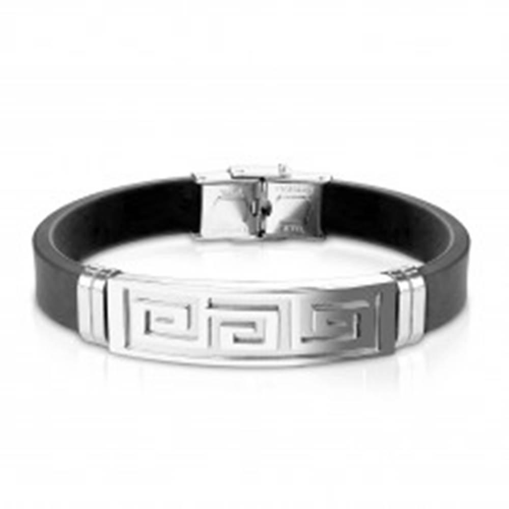 Šperky eshop Náramok z čiernej gumy, oceľová známka s gréckym kľúčom striebornej farby