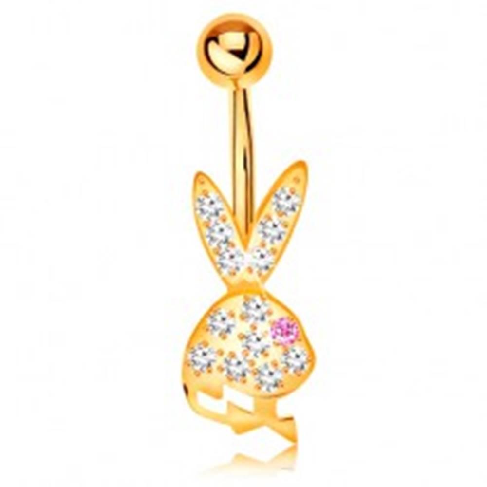 Šperky eshop Piercing do brucha v žltom 9K zlate - trblietavá hlava zajačika s ružovým očkom
