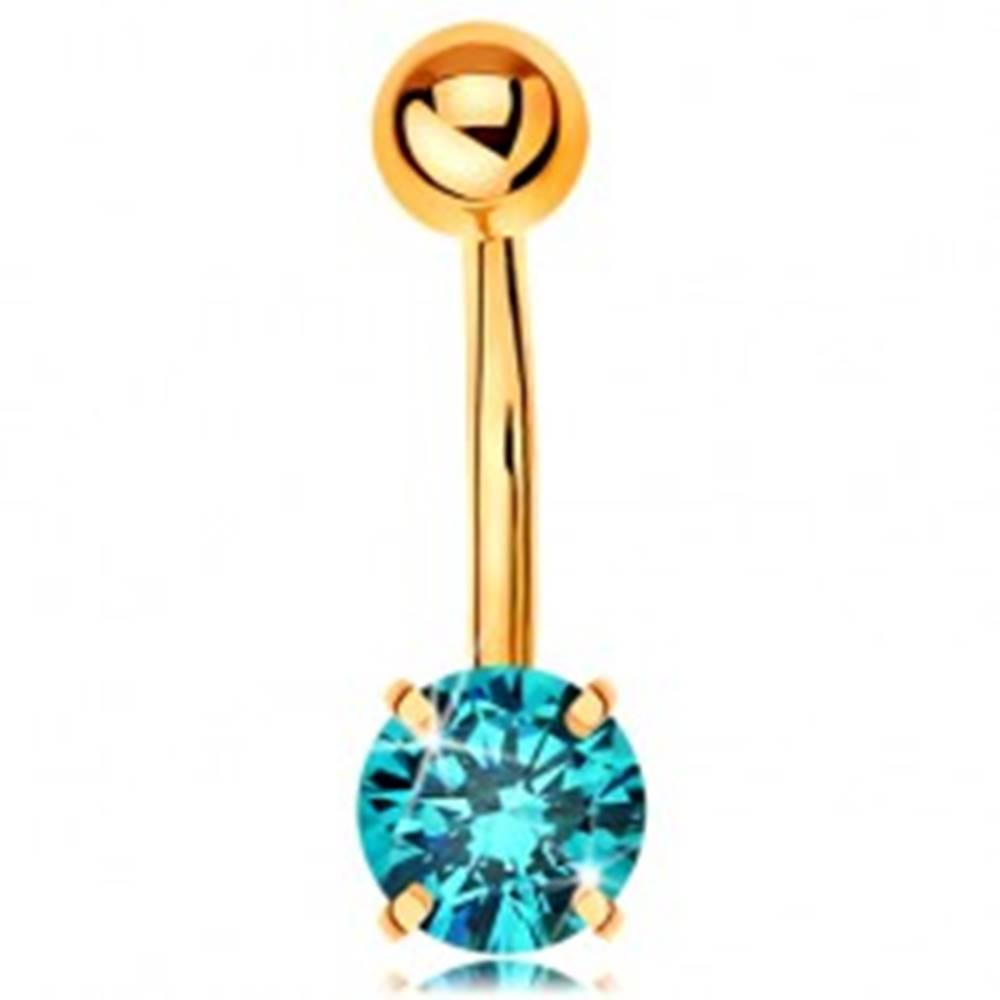 Šperky eshop Piercing do bruška zo žltého 9K zlata - banán s guľôčkou a modrým zirkónom