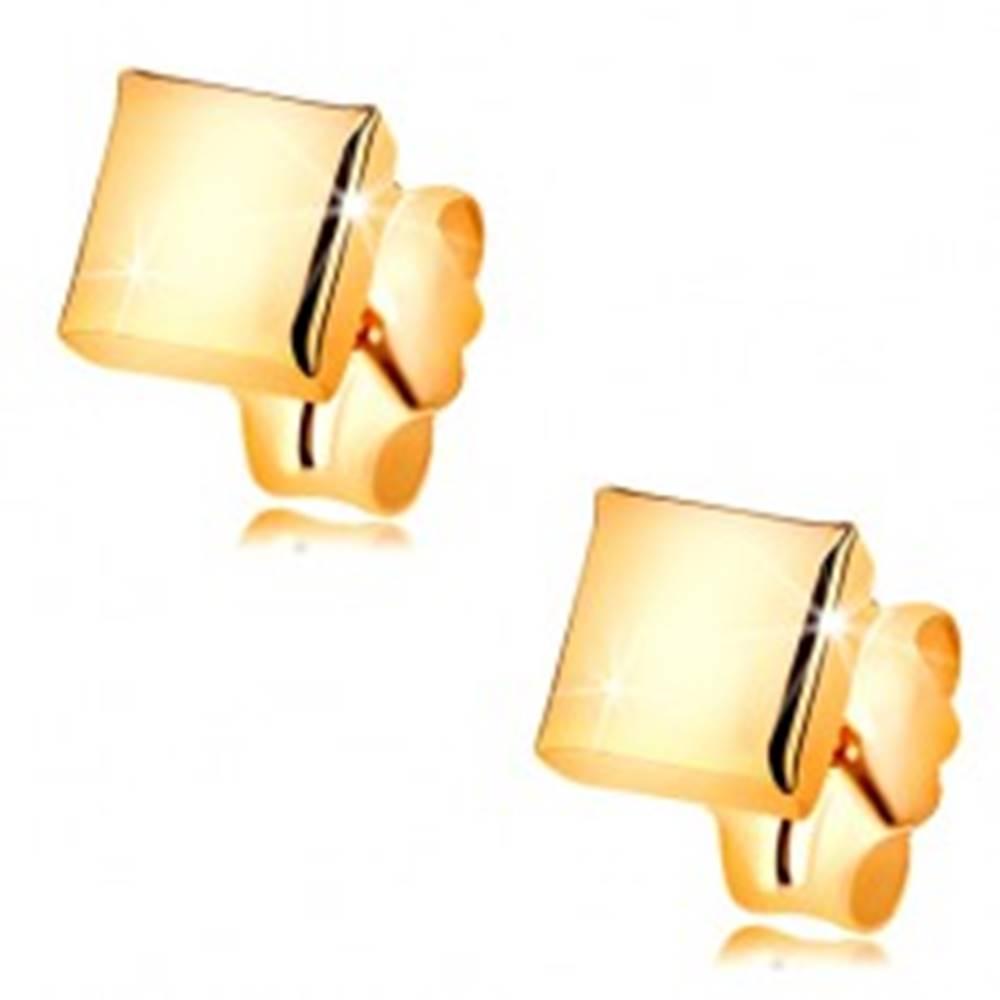 Šperky eshop Puzetové náušnice zo žltého 14K zlata - lesklý a hladký štvorček