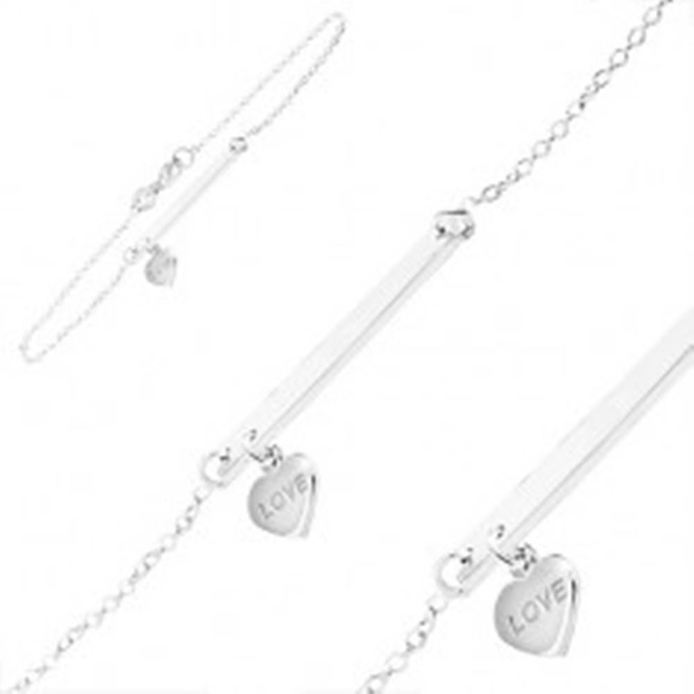 Šperky eshop Strieborný náramok 925, úzka lesklá platnička so srdiečkovým príveskom
