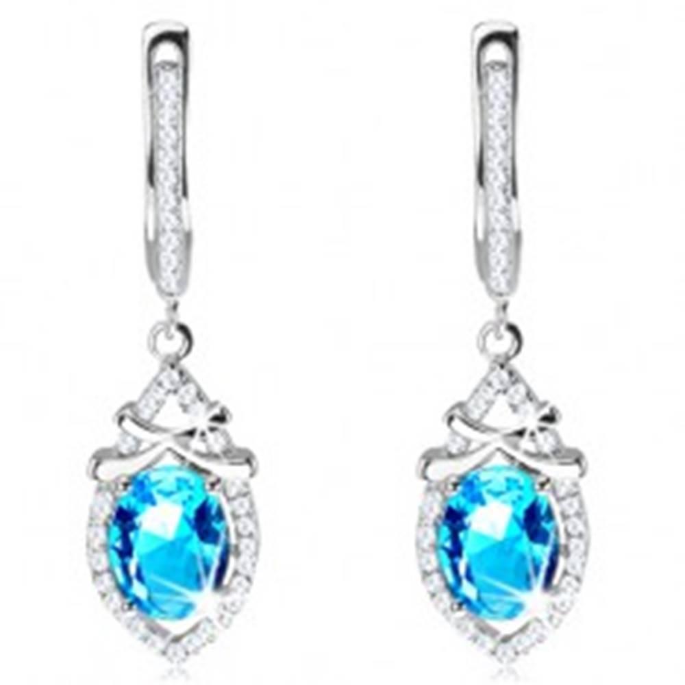 Šperky eshop Strieborné náušnice 925, zirkónová kvapka so svetlomodrým oválom