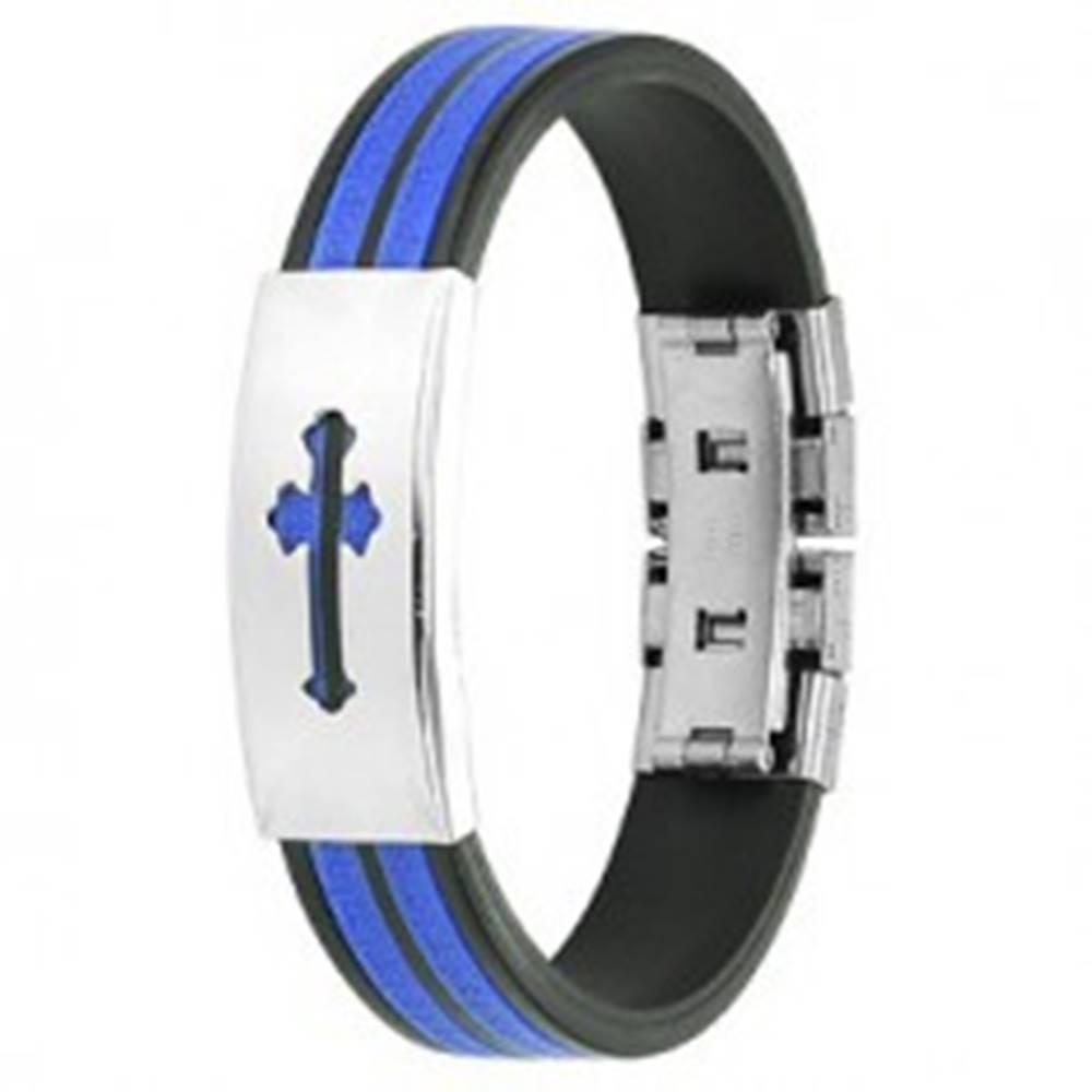 Šperky eshop Gumový náramok z chirurgickej ocele čierno - modrý, kríž