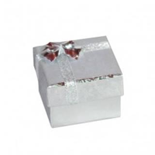 Darčeková krabička na náušnice - strieborné lesklé ruže, mašľa, 50 mm