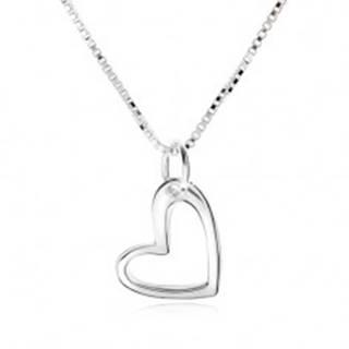 Náhrdelník s obrysom asymetrického srdca, hranatá retiazka, striebro 925