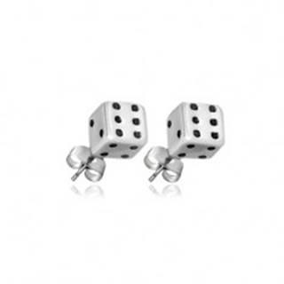 Náušnice zo striebra 925 - bielo-čierne hracie kocky