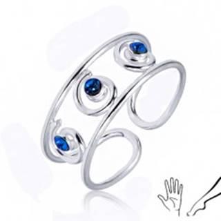 Strieborný prsteň 925 na ruku alebo nohu, tri modré zirkóny v špirálach