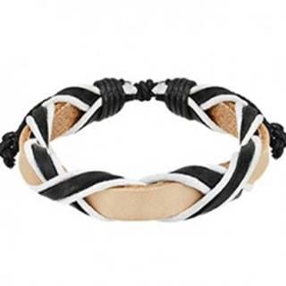 Svetlý kožený náramok s prekríženými čiernymi pásmi