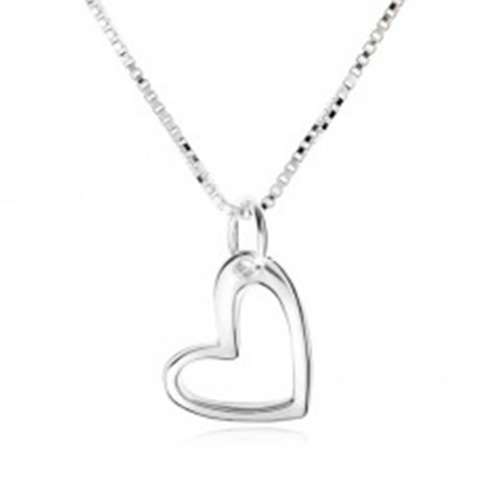 Šperky eshop Náhrdelník s obrysom asymetrického srdca, hranatá retiazka, striebro 925