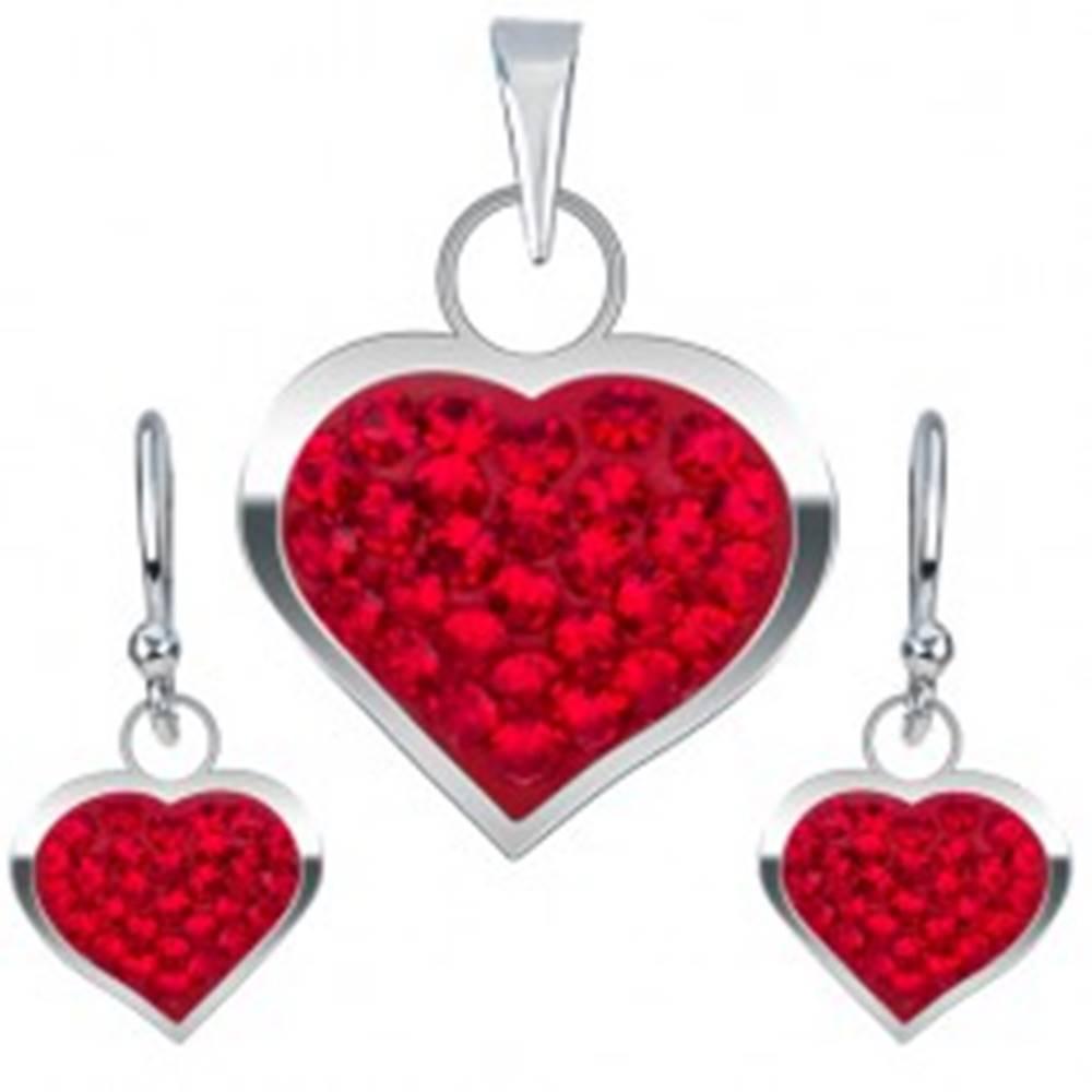 Šperky eshop Strieborná sada 925, náušnice a prívesok, červené zirkónové srdce