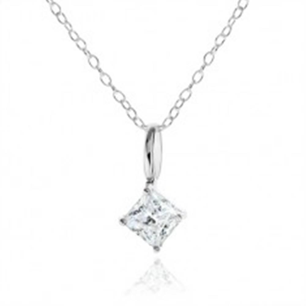 Šperky eshop Strieborný náhrdelník 925, číry zirkónový kosoštvorec, ozdobný kotlík