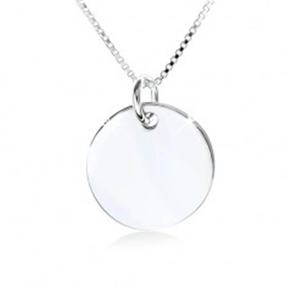 Šperky eshop Strieborný náhrdelník 925, zrkadlovolesklá okrúhla známka bez vzoru