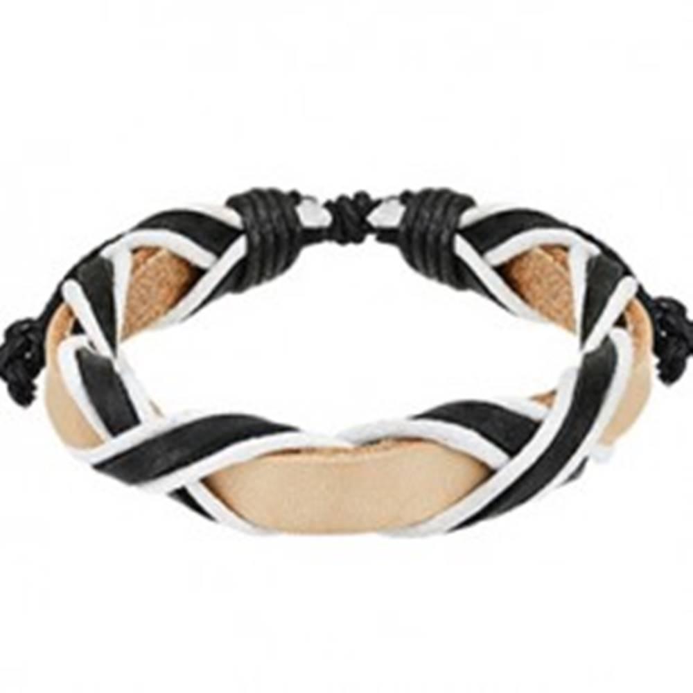 Šperky eshop Svetlý kožený náramok s prekríženými čiernymi pásmi
