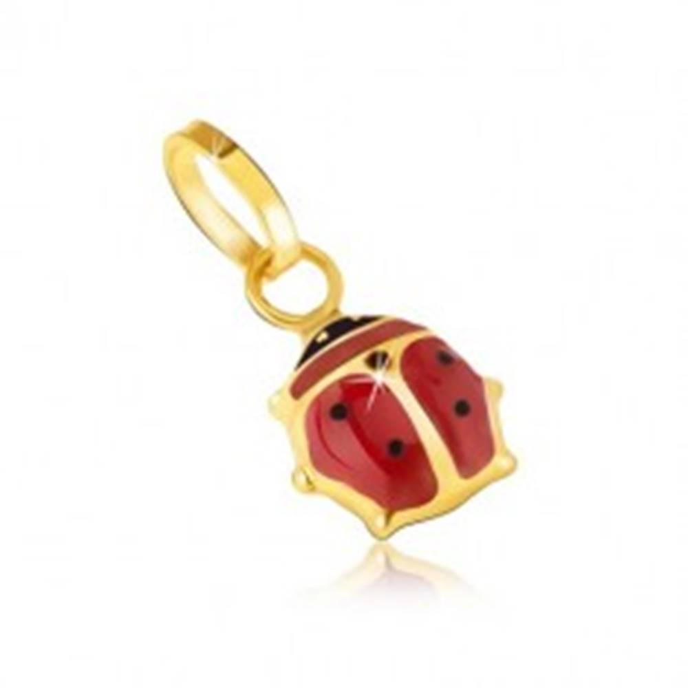 Šperky eshop Zlatý prívesok 585 - maličká glazúrovaná červeno-čierna lienka