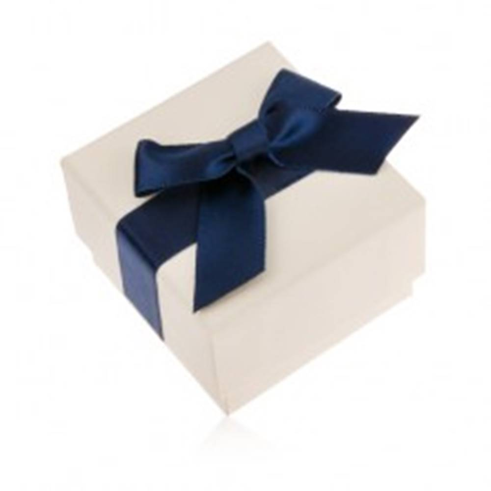 Šperky eshop Krémová darčeková krabička na prsteň, prívesok alebo náušnice, modrá mašľa