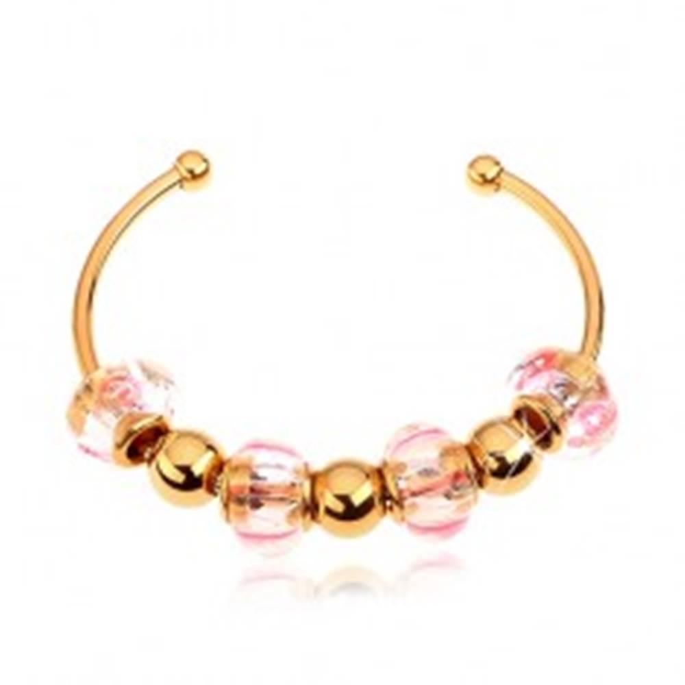 Šperky eshop Náramok z chirurgickej ocele zlatej farby, sklenené a oceľové korálky