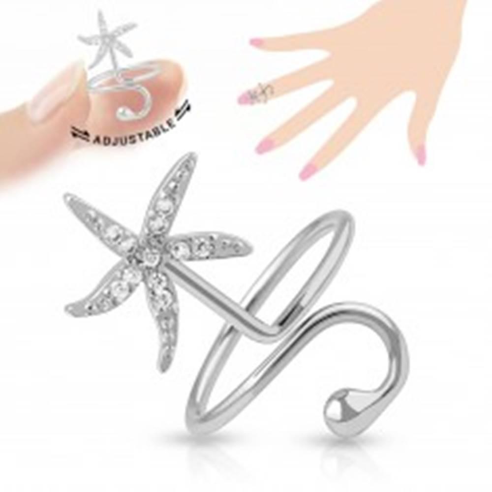 Šperky eshop Nastaviteľný prsteň na necht, ligotavá morská hviezdica, lesklá gulička