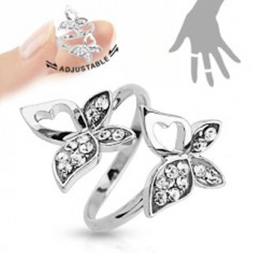 Šperky eshop Nastaviteľný prsteň, strieborná farba, motýliky, číre zirkóny, výrezy