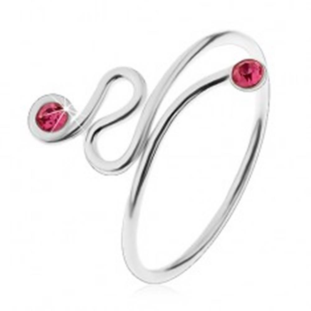 Šperky eshop Nastaviteľný prsteň, striebro 925, točená línia, ružové zirkóny na koncoch