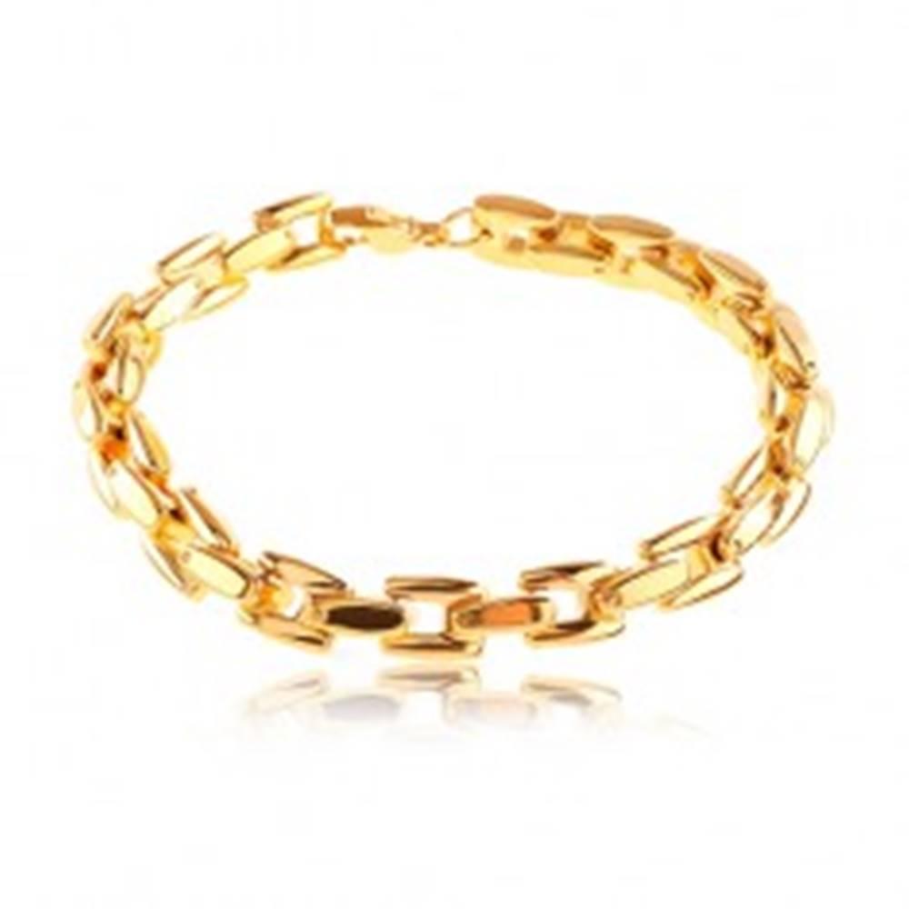 Šperky eshop Oceľový náramok v zlatom odtieni, lesklá reťaz z hranatých článkov