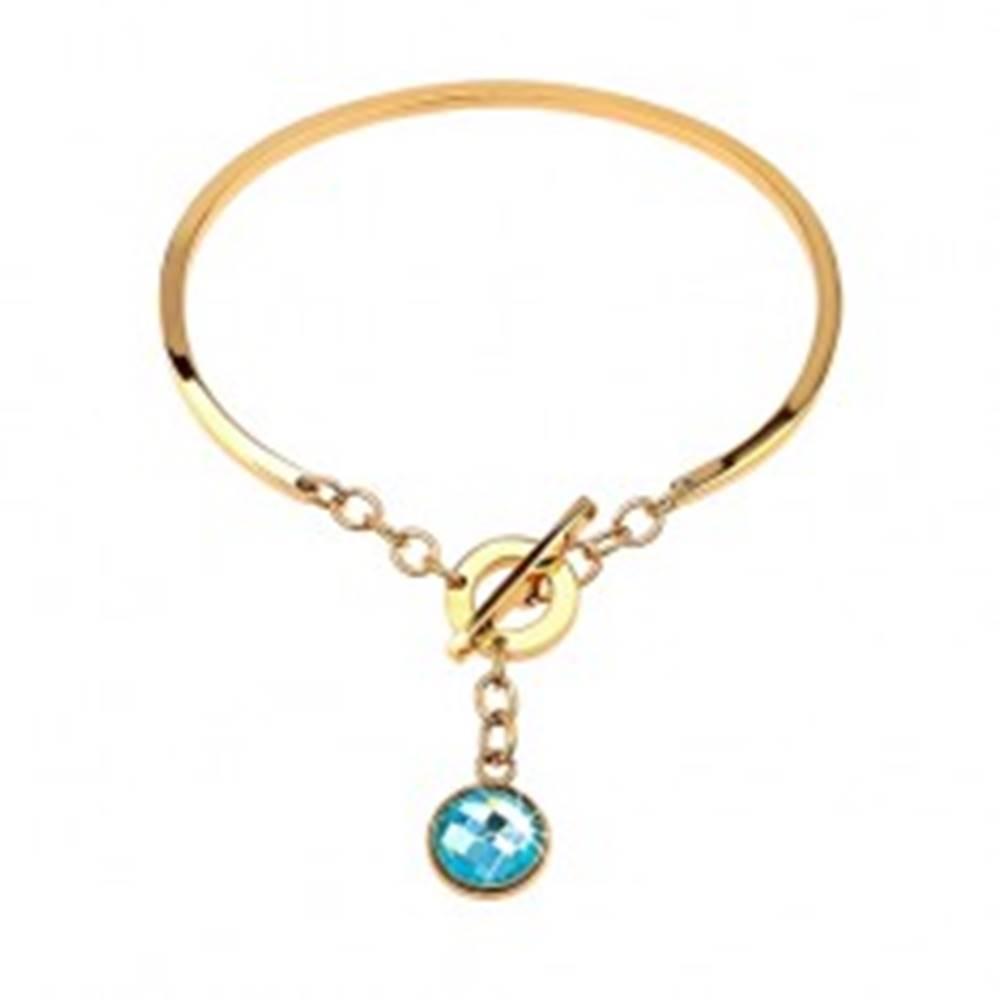 Šperky eshop Oceľový náramok zlatej farby, neúplný ovál s visiacim modrým zirkónom