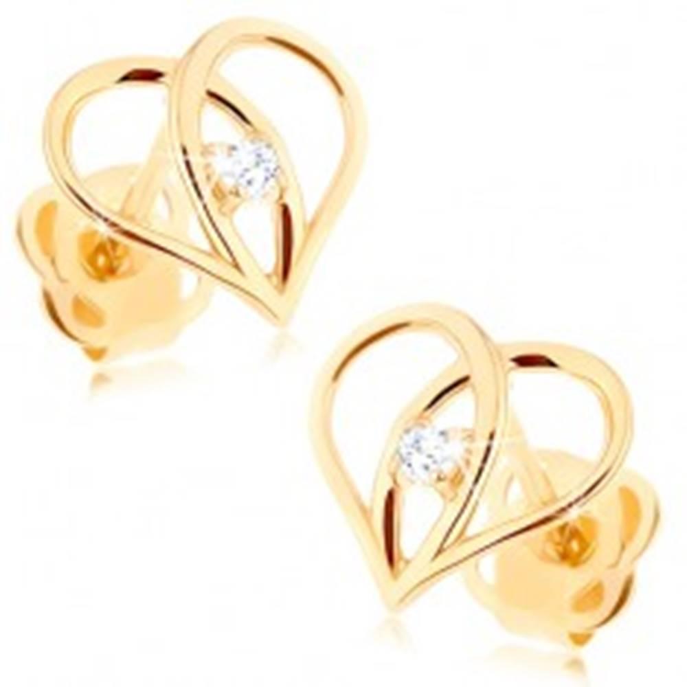 Šperky eshop Puzetové náušnice zo zlata 585 - kontúra srdca s prekríženými líniami, zirkón