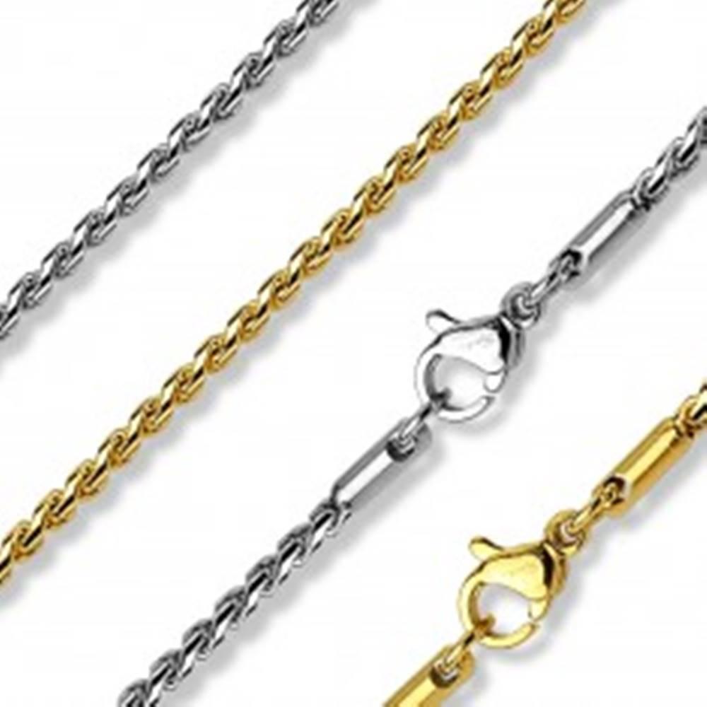 Šperky eshop Retiazka z chirurgickej ocele, lesklé články s esíčkovým vzorom - Farba: Strieborná