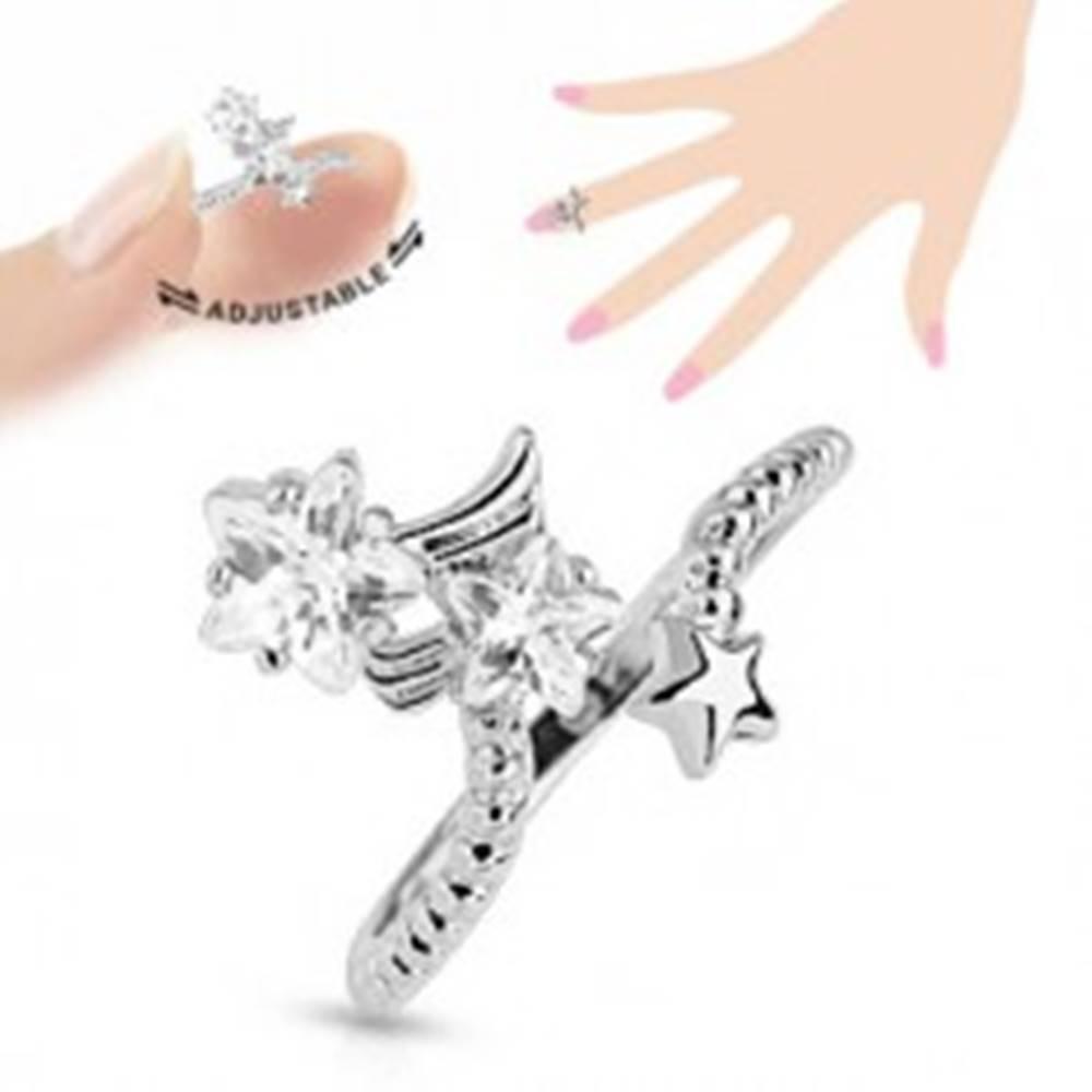 Šperky eshop Ródiovaný prsteň na necht, číre zirkónové hviezdičky, nastaviteľný
