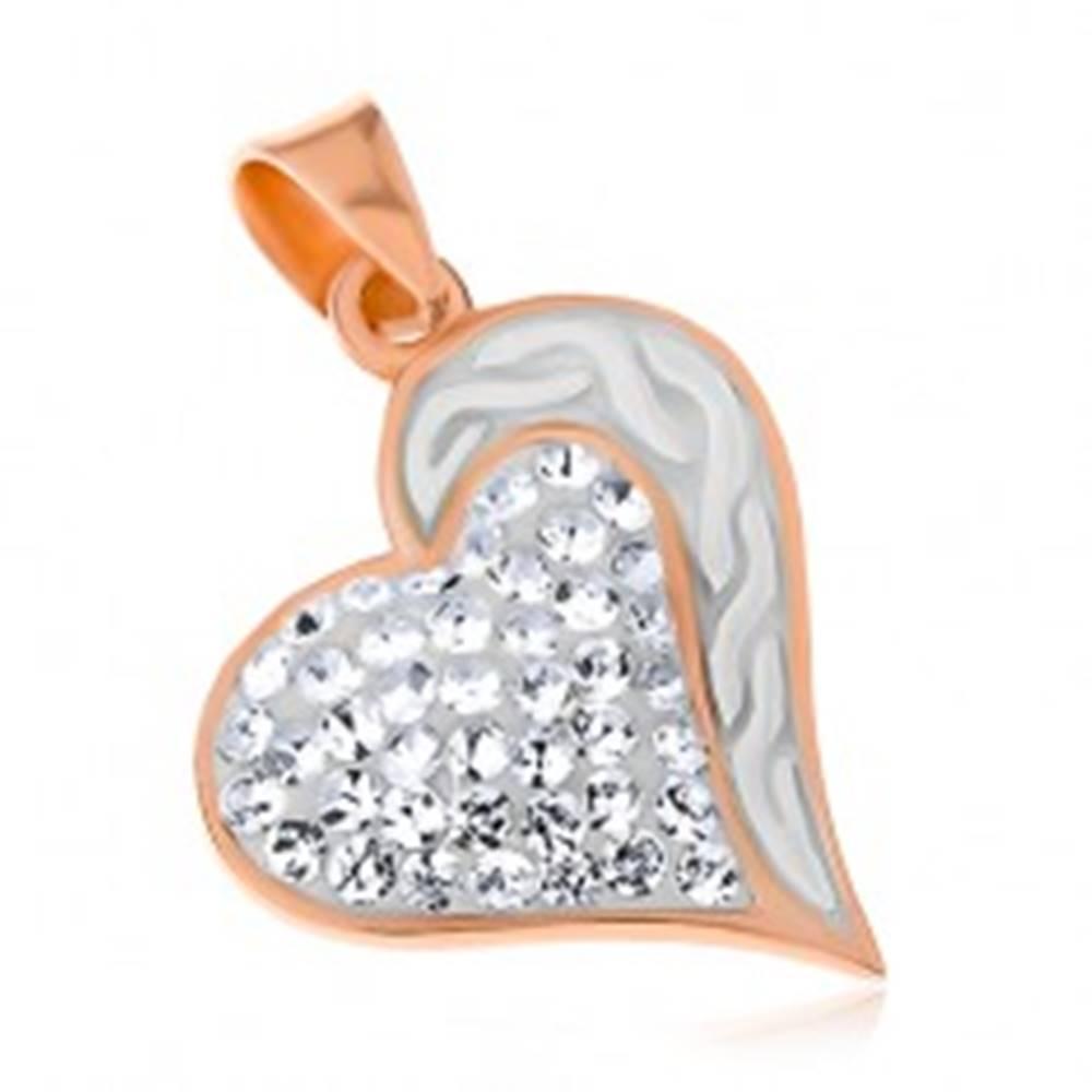 Šperky eshop Strieborný 925 prívesok medenej farby, srdce s vlnkami a čírymi zirkónmi