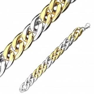 Náramok z ocele v dvojfarebnej kombinácii - oválne očká, sériové napájanie, 12 mm