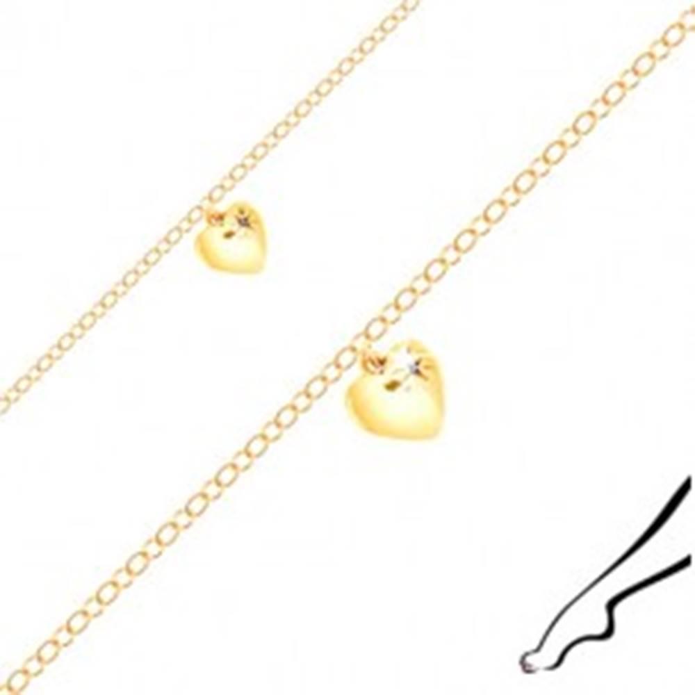 Šperky eshop Náramok na členok zo striebra zlatej farby - lesklé srdiečko, čierny zirkón