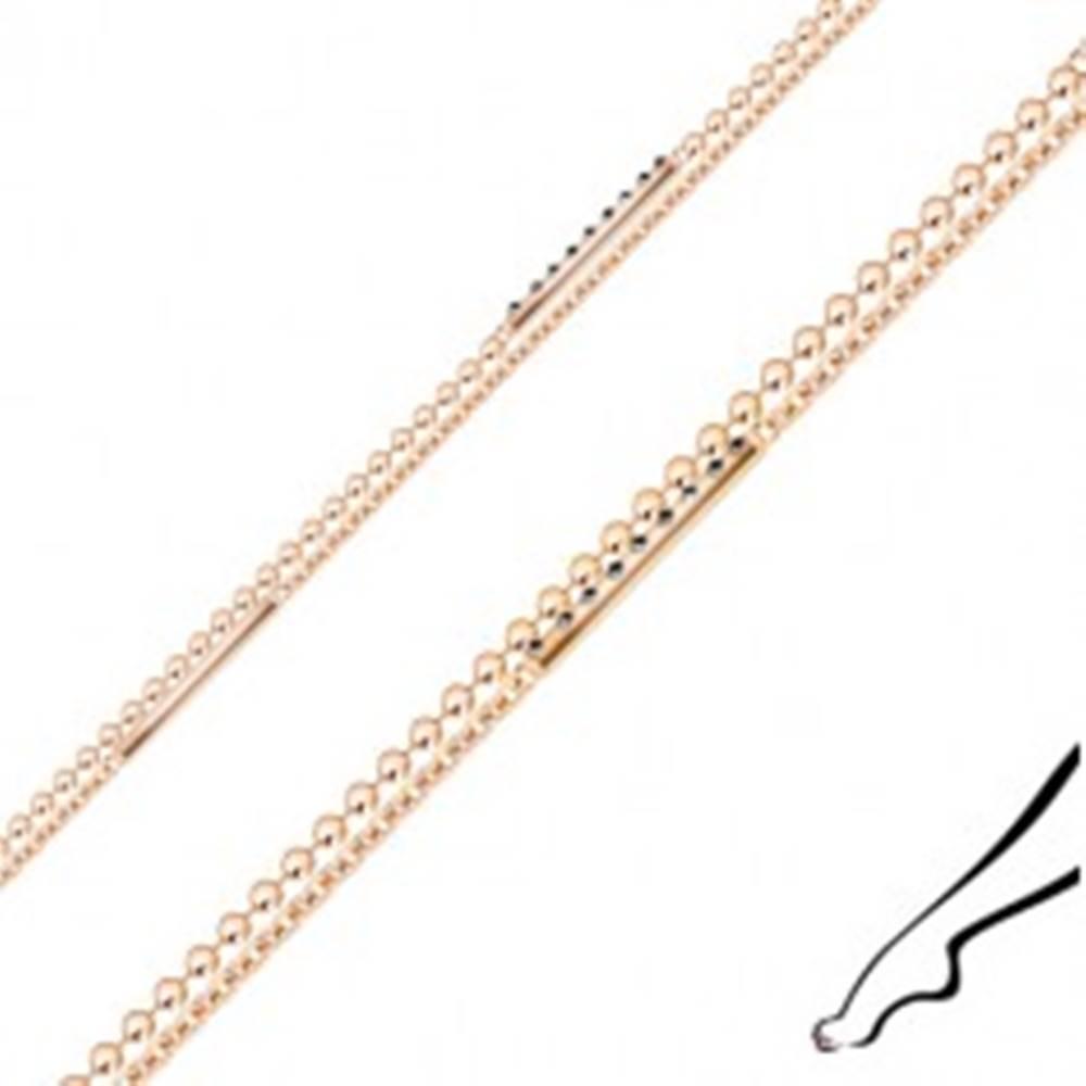 Šperky eshop Náramok na nohu zo striebra - dvojitá retiazka, zirkóny, pásiky, medená farba