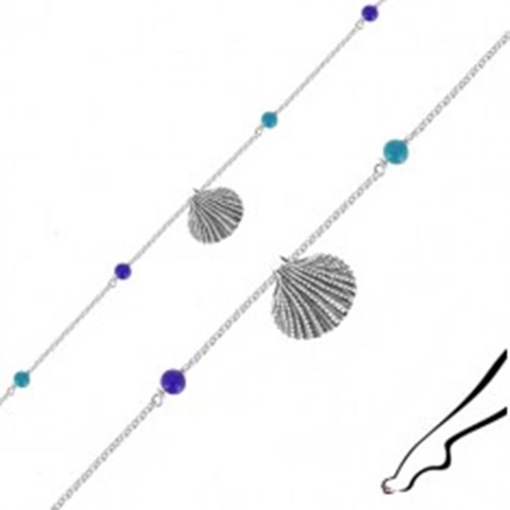 Šperky eshop Náramok zo striebra 925 na členok - morská mušľa, štyri modré guľôčky