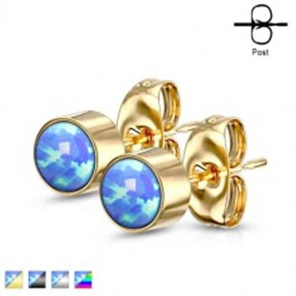 Šperky eshop Náušnice z chirurgickej ocele - syntetický modrý opál v objímke, puzetové zapínanie, 3 mm - Farba: Čierna