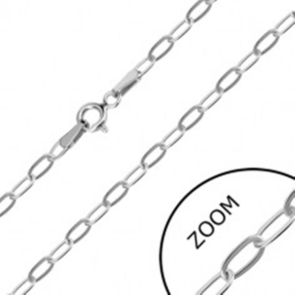 Šperky eshop Retiazka v bielom 14K zlate - podlhovasté očká, perový krúžok, 550 mm