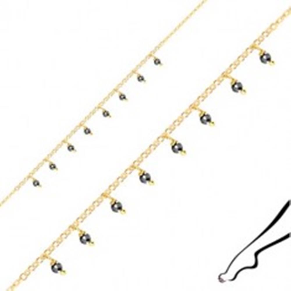 Šperky eshop Strieborný náramok na členok 925 - guľôčky z pyritu, zlatá farba, karabínka