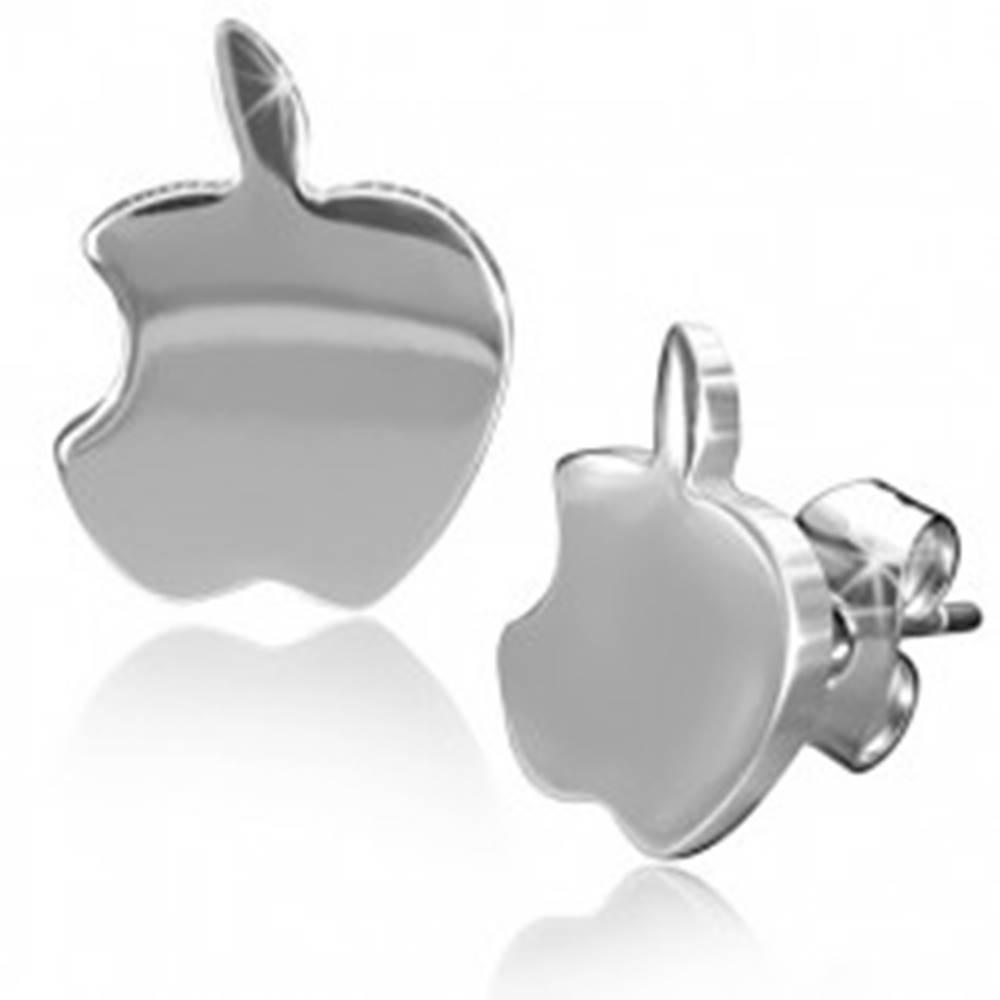 Šperky eshop Lesklé oceľové náušnice, jabĺčka striebornej farby